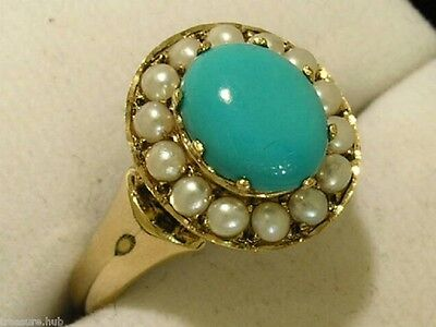 C994 - Genuine 9ct Gold NATURAL Turquoise  Pearl Cluster Ring made in your size