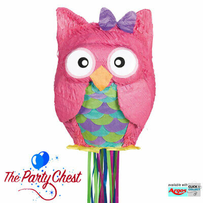 COLOURFUL OWL PULL STRING PINATA Bird Animal Party Game Decoration 45cm P33523