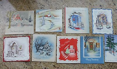 Vintage Christmas Greeting Cards Old Fashioned Cottage Scenes Fireplace Doorways