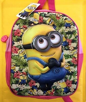 Despicable Me Junior Pink Backpack 3D Minion OFFICIAL LICENSED MIN-8223-PR