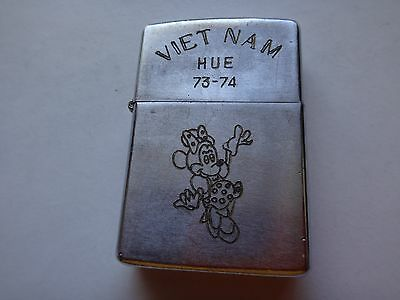 Vietnam War Year 1974 Zippo Lighter VIETNAM HUE 73-74 & Walt Disney MINNIE Mouse