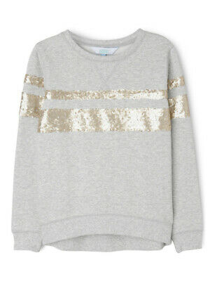 NEW Tilii Varsity Sequin Sweat Top Grey Marle