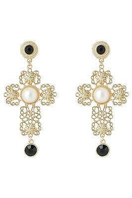 NEW Miss Shop Pearl Crucifix Earring Gold