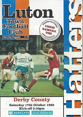 LUTON TOWN v DERBY COUNTY ~ 17 OCTOBER 1992