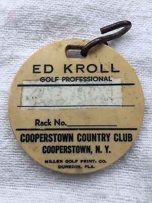Vintage Golf Bag Tag From Cooperstown NY  Ed Kroll Pro PGA Leatherstocking