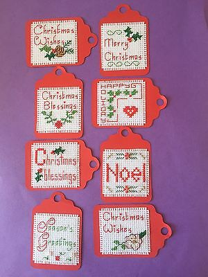 8 X Completed Cross Stitch Christmas Gift Tags ( Various Designs)