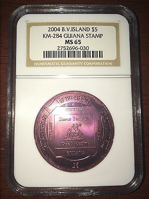 2004 British Virgin Islands $5 - Red Titanium - Guiana Stamp - MS 65 - NGC Coin