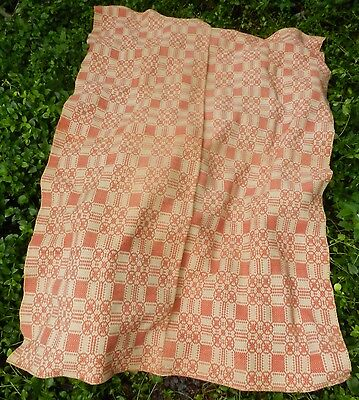Vintage Hand woven Coverlet - Beige + Pink - made in 2 pieces + sewn together