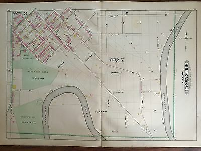 1899 Lancaster City Pa Woodward Hill, Zion & Greenwood Cemetery 19-22 Atlas Map