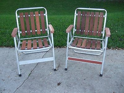 2 Retro Vintage  REDWOOD Aluminum Folding Lawn Chairs patio wood porch yard