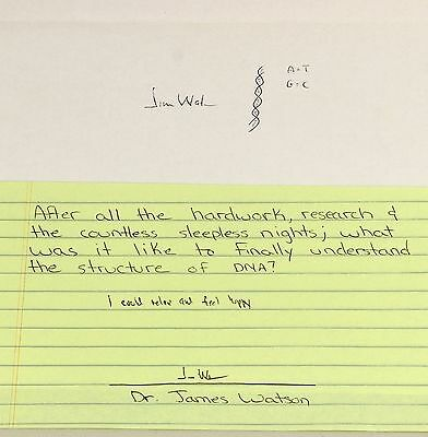 Dr James Watson | DNA co-discoverer | double helix drawing SIGNED x 2 cool quote