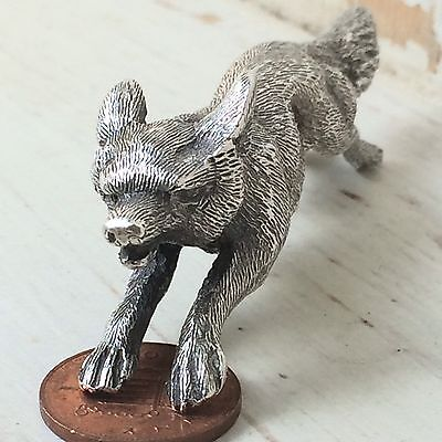 97.9g Rare Antique Victorian Solid Silver Running Fox Statue Dated 1892 London