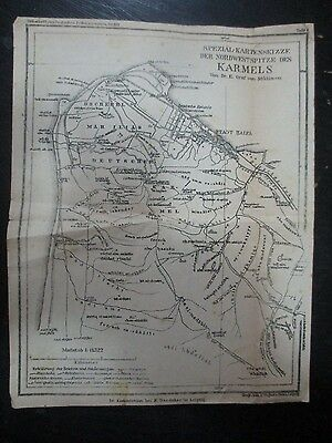 The German Carmel, An Old Map 1:41322 Scale, Templer Colonies , Palestine,1908.