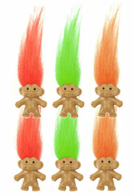 6 Trolls With Coloured Hair - Pinata Toy Loot/Party Bag Fillers Wedding/Kids