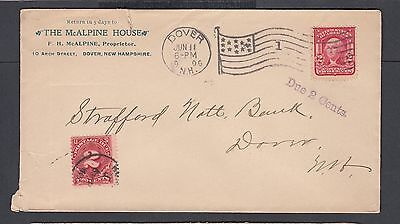 USA 1906 POSTAGE DUE McALPINE HOUSE HOTEL COVER DOVER NEW HAMPSHIRE LOCAL USE