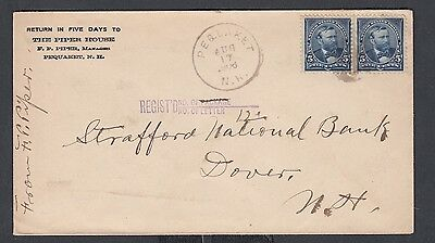 Usa 1906 The Piper House Hotel Registered Cover Pequaket To Dover New Hampshire