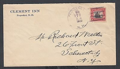 Usa 1925 Clement Inn Hotel Cover Pequaket New Hampshire To Schenectady New York