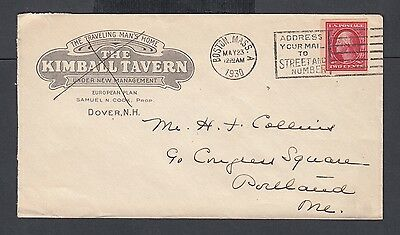 Usa 1930 The Kimball Tavern Hotel Cover Dover New Hampshire To Portland Maine