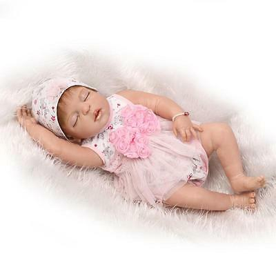 "23"" Full Handmade Lifelike Reborn Baby Dolls Body Silicone Vinyl Bath girl Gifts"