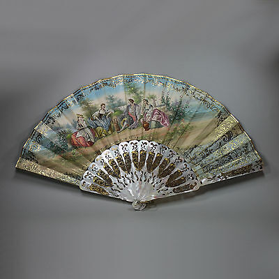 Antique French pierced mother of pearl fan, circa 1850