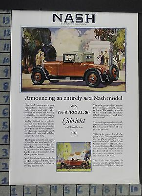 1927 Auto Nash Motor Car Cabriolet Model Special Six Engine Vintage Ad Do89