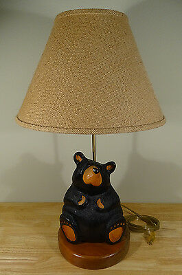 Vintage Big Sky Carvers Rosie Bear Table Lamp Solid Wood Signed Dated Bearfoots