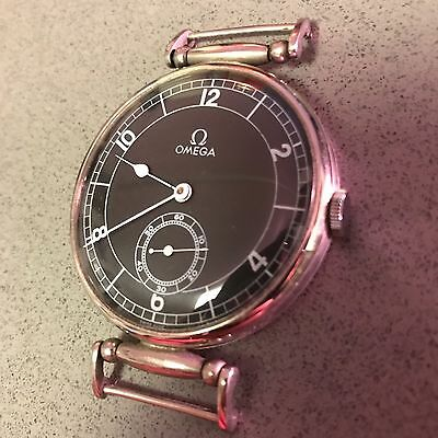 """Large (1.75"""") OMEGA pocket-watch conversion 1940s black dial mechanical movement"""