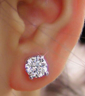 4.00 Ct VVS1 Round Cut Diamond Earrings 14K Solid White Gold Solitaire Stud