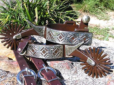 Cowboy Western Men's Show spurs WITH STRAPS Leathers BIG Rowel