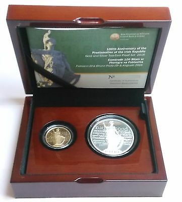 Ireland 2016 Gold €50 & Silver €15 euro coins double set Irish Proclamation 100Y