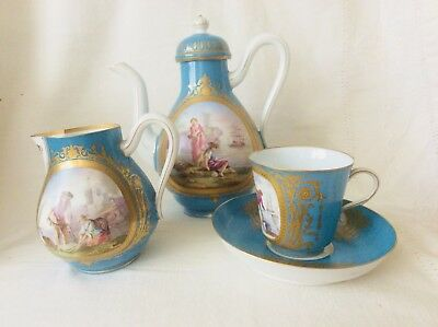 Versailles Quality Antique French  Sevres Turquoise Hand Painted Tea Coffee Set