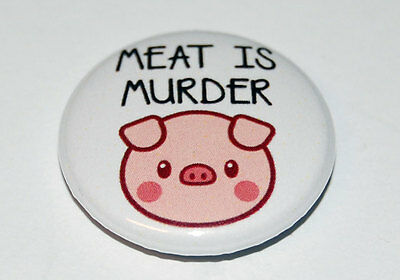 MEAT IS MURDER Button Badge 25mm / 1 inch VEGETARIAN/VEGAN