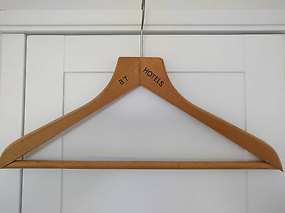 Vintage wooden hotel coat hanger - BT Hotels  (British Transport)