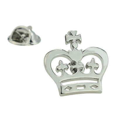 Rhodium Plated Flat Crown Design Lapel Pin Badge X2AJTP458