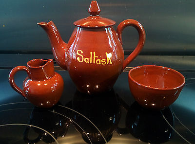 Aller Vale Devon Brown Pottery teapot (SALTASH) and small milk and sugar bowls