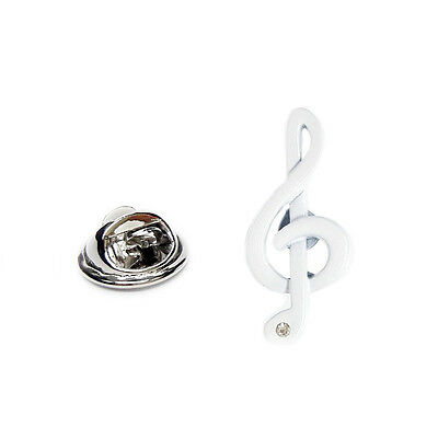 White Treble Clef with Crystal Music Lapel Pin Badge X2AJTP469