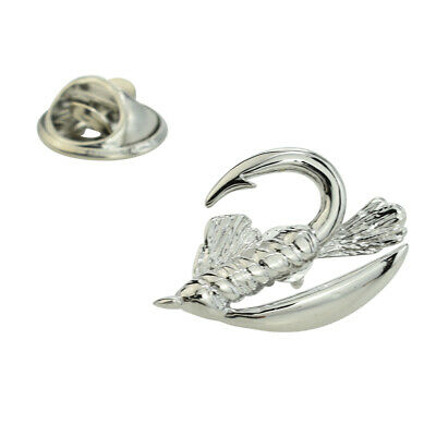 Fly Fishing Hook Lapel Pin Badge X2AJTP471