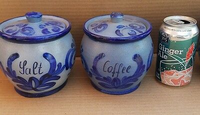 Salt Glazed 4pc Decanter Set - Handmade in W. Germany vintage - Cobalt Blue Gray