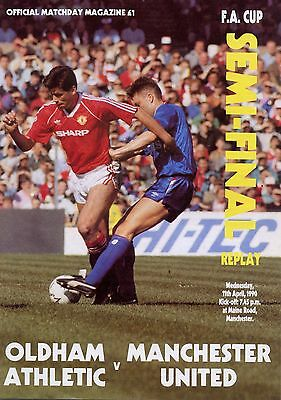 F A Cup Semi 1990 Replay Man Utd Oldham Mint Programme Manchester
