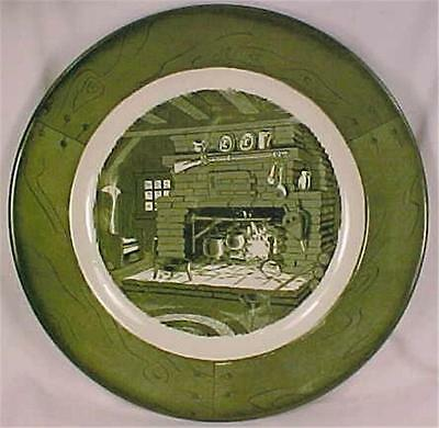 Colonial Homestead Dinner Plate Royal China Hearth Green White Vintage 1940s