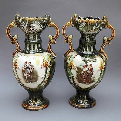 Pair of Large Antique Majolica VASES ~ Couple Portrait ~ 32cm ~ Ornate Handles