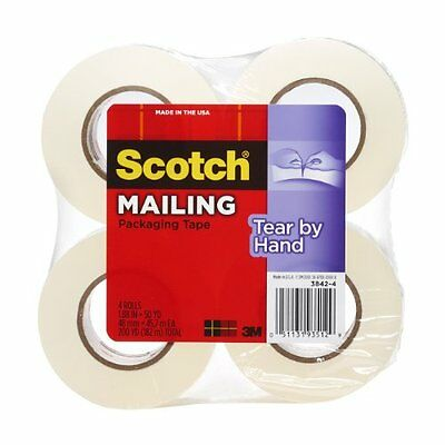 """Scotch Tear-by-hand Packaging Tape - 1.89"""" Width X 38.28 Yd Length - 4 / Pack -"""