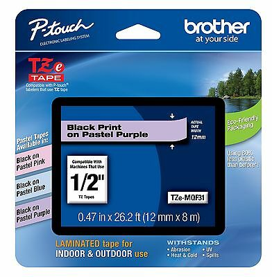Brother International TZEMQF31 12mm [0.47in] Black On Pastel Purple Tape For