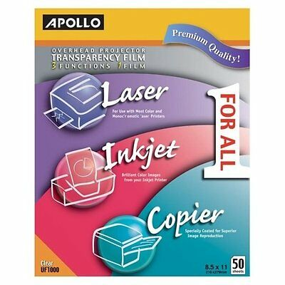 "Apollo Transparency Film - For Laser Print - Letter - 8.50"" X 11"" - 50 / Box -"