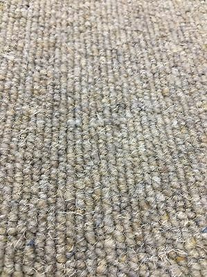 Carpet Remnant Roll End Morocco Chalbi Taupe Wool Loop Pile 4x4.3m 60% OFF