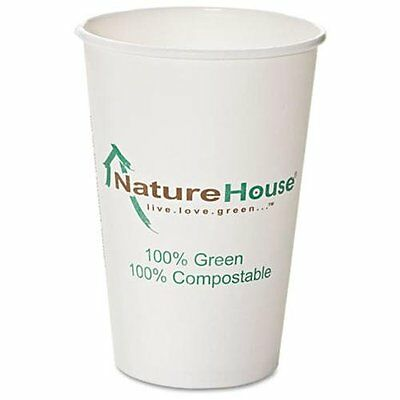 Savannah Supplies Compostable Paper/pla Cup - 50 / Pack - White - Polylactic