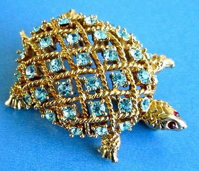 Coro Lovely Vintage Signed Turtle Brooch with Blue Rhinestones, 1960s