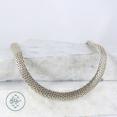 "Sterling Silver | 10mm Mesh Chain 40.7g | Necklace (18.25"") MT7013"