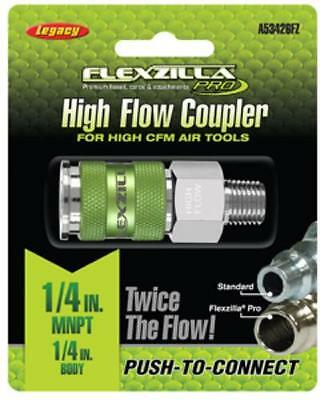 Legacy Manufacturing A53426FZ Flexzilla High Flow Coupler, 1/4 Body, 1/4 Mnpt