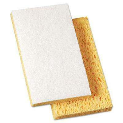 "Boardwalk 16320 Scrubbing Sponge, 3 3/5"" X 6 1/10"", 7/10"" Thick, Yellow/white,"